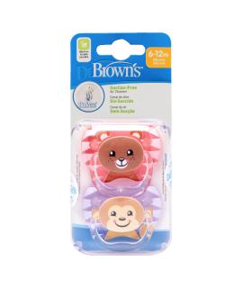 DR BROWNS CHUPETE SILICONA ANIMAL NIÑA 6-12M 2UDS  - Accesorios del bebé y Chupetes