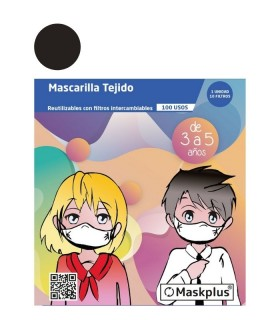 MASCARILLA MASKPLUS NEGRO INF 3-5 AÑOS +10 FILTROS Inicio y  -