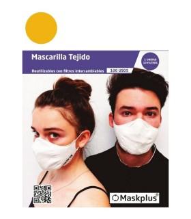 MASCARILLA MASKPLUS REUTILIZABLE ADULTO MOSTAZA +10 FILTROS Inicio y  - MASKPLUS