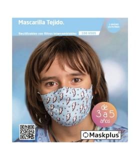 MASCARILLA MASKPLUS REUTILIZABLE INFANTIL 3-5 AÑOS AZUL RAYO Inicio y  - MASKPLUS