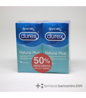 DUREX DUPLO PRESERVATIVOS NATURAL PLUS 12 UND Preservativos y Salud Sexual