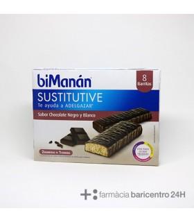 BIMANAN BARRITA CHOCOLATE NEGRO Y BLANCO 320 G 8 BARRITAS Dieta y Adelgazamiento