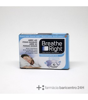 BREATHE RIGHT TRANSPARENTES GRANDE 10 UNIDADES Congestion Nasal y Cuidado Respiratorio